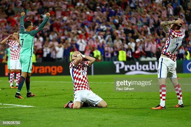 Domagoj Vida of Croatia reacts after his shot wide during the UEFA EURO 2016 round of 16 match between Croatia and Portugal at Stade BollaertDelelis...