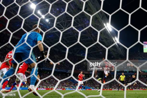 Domagoj Vida of Croatia scores his team's second goal during the 2018 FIFA World Cup Russia Quarter Final match between Russia and Croatia at Fisht...