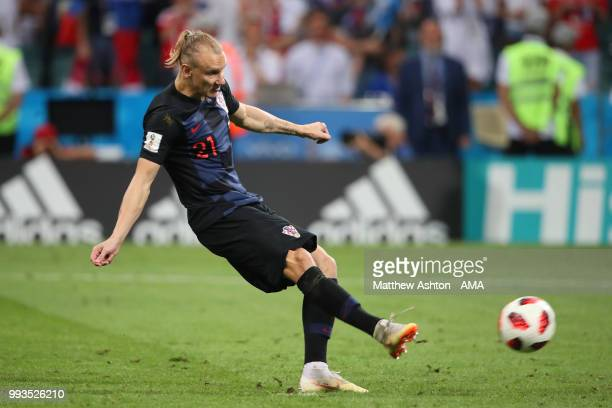 Domagoj Vida of Croatia scores in a shootout during the 2018 FIFA World Cup Russia Quarter Final match between Russia and Croatia at Fisht Stadium on...