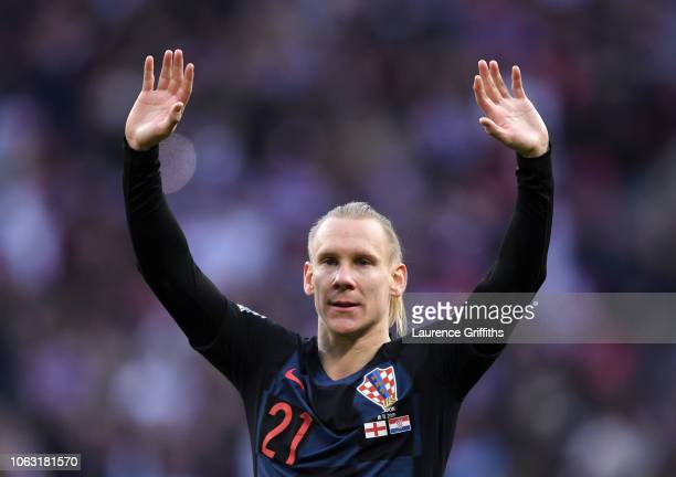 Domagoj Vida of Croatia shows appreciation to the fans after the UEFA Nations League A group four match between England and Croatia at Wembley...