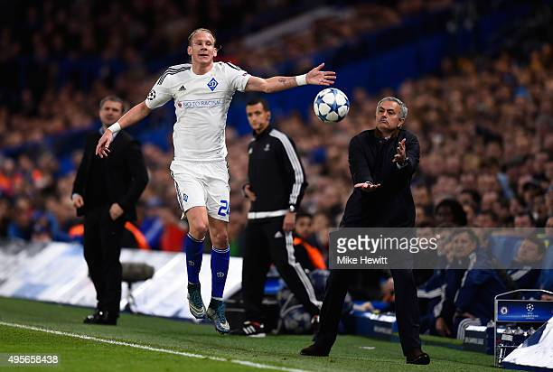Domagoj Vida of Dynamo Kyiv leaps to gather the ball ahead of Jose Mourinho the manager of Chelsea during the UEFA Champions League Group G match...