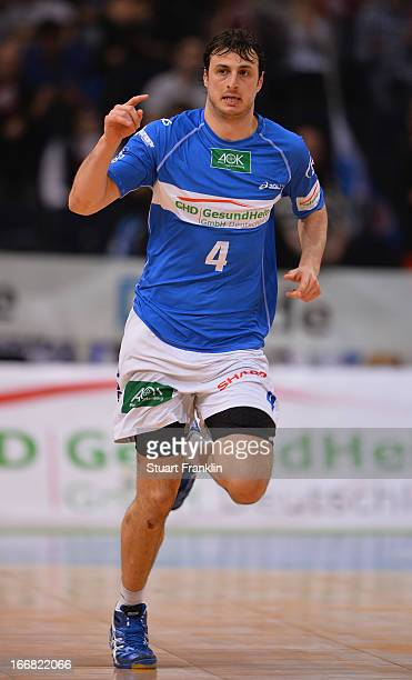 Domanagoj Duvnjak of Hamburg celebrates throwing a goal during the DKB Bundesliga handball game between HSV Hamburg and TUSEM Essen at O2 World on...