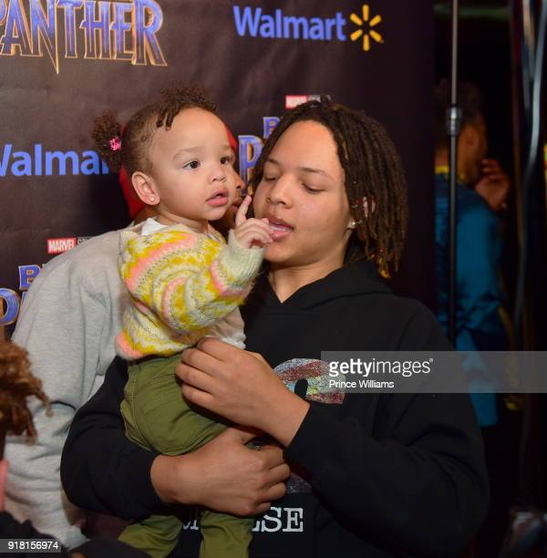 Domani Harris and Heiress Diana Harris attend 'Black Panther' Advance Screening at Regal Hollywood on February 13 2018 in Chamblee Georgia