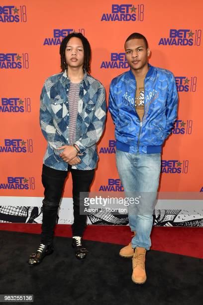 Domani Harris and Messiah Ya' Majesty Harris pose in the press room at the 2018 BET Awards at Microsoft Theater on June 24, 2018 in Los Angeles,...