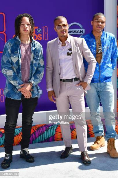 Domani Harris, T.I. And Messiah Harris arrive to the 2018 BET Awards held at Microsoft Theater on June 24, 2018 in Los Angeles, California.