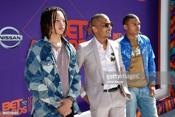 Domani Harris T.I. And Messiah Harris attend the 2018 BET Awards at Microsoft Theater on June 24, 2018 in Los Angeles, California.