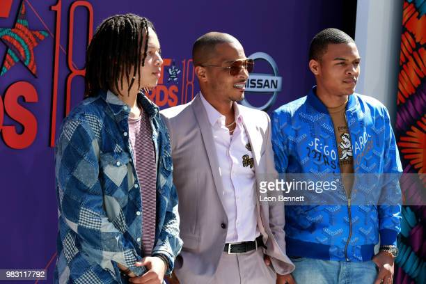 Domani Harris, T.I. And Messiah Ya' Majesty Harris attend the 2018 BET Awards at Microsoft Theater on June 24, 2018 in Los Angeles, California.