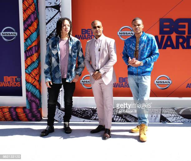 Domani Harris TI and Messiah Ya' Majesty Harris attend the 2018 BET Awards at Microsoft Theater on June 24 2018 in Los Angeles California