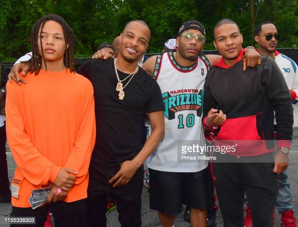 Domani Harris, T.I., Nelly and Messiah Harris during the 2019 Tycoon Music Festival at Cellairis Amphitheatre at Lakewood on June 8, 2019 in Atlanta,...
