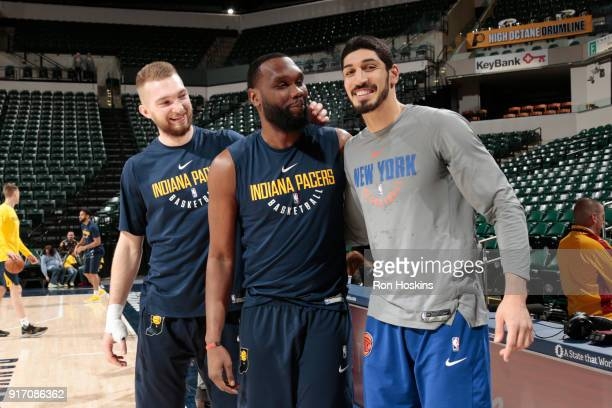 Domantas Sabonis and Al Jefferson of the Indiana Pacers with Enes Kanter of the New York Knicks are seen before the game on February 11 2018 at...