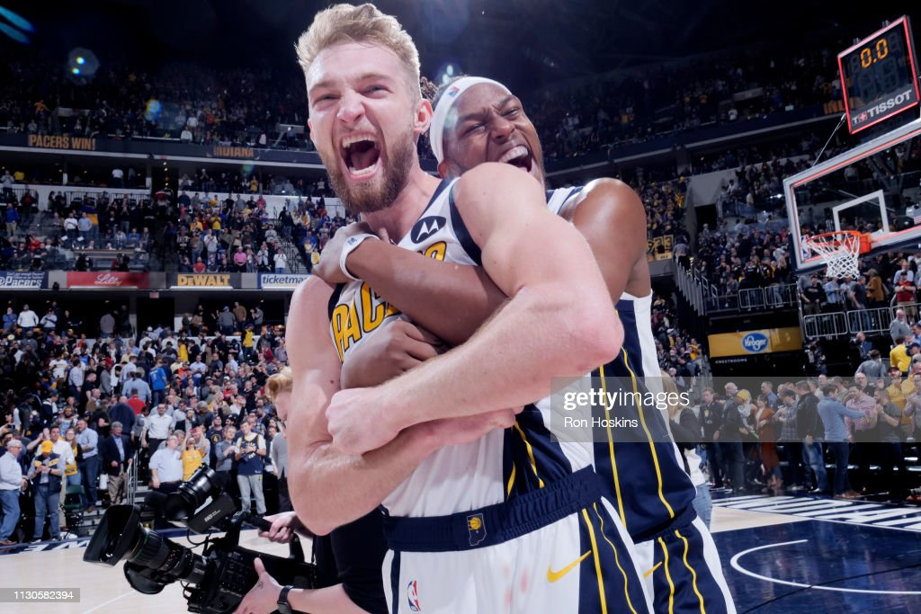 Domantas Sabonis and Myles Turner of the Indiana Pacers