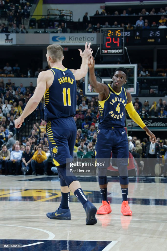 Domantas Sabonis and Victor Oladipo of the Indiana Pacers