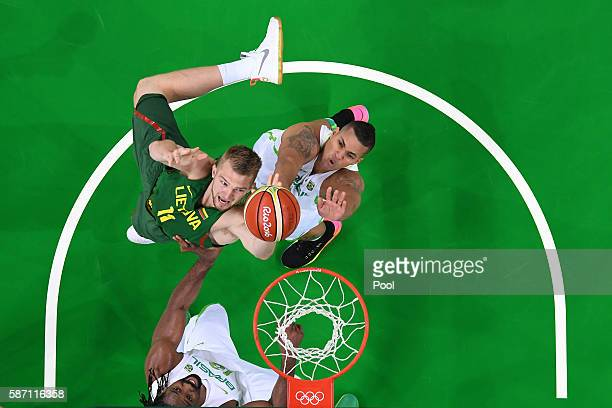 Domantas Sabonis of Lithuania puts up a shot during a Men's preliminary round basketball game between Brazil and Lithuania on Day 2 of the Rio 2016...