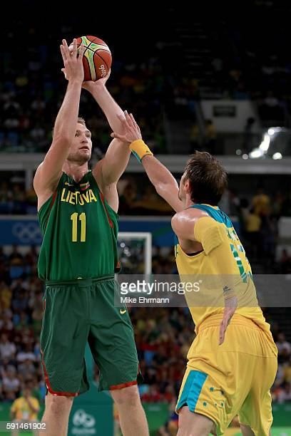 Domantas Sabonis of Lithuania shoots the ball over David Andersen of Australia during the Men's Quarterfinal match on Day 12 of the Rio 2016 Olympic...