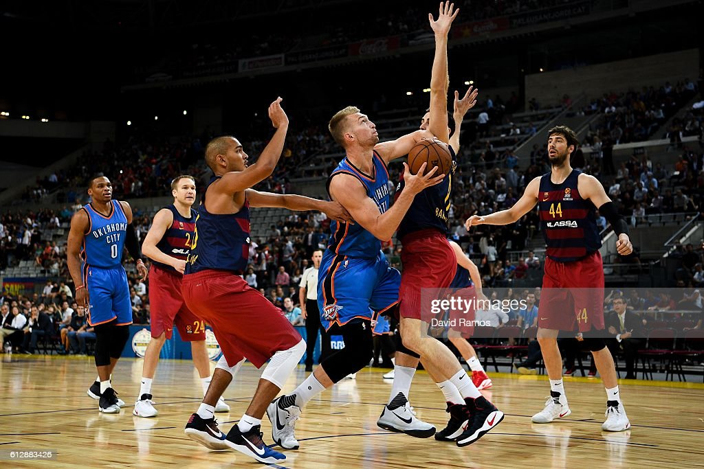 Domantas Sabonis of Oklahoma City Thunder shoots the ball during the NBA Global Games Spain 2016 match between FC Barcelona Lassa and Oklahoma City Thunder at Palau Sant Jordi on October 5, 2016 in Barcelona, Spain.