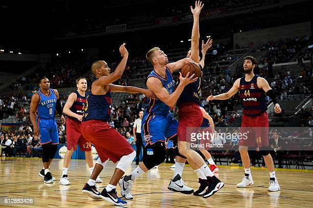 Domantas Sabonis of Oklahoma City Thunder shoots the ball during the NBA Global Games Spain 2016 match between FC Barcelona Lassa and Oklahoma City...