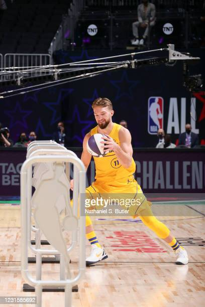 Domantas Sabonis of Team LeBron dribbles during the Taco Bell Skills Challenge as part of 2021 NBA All Star Weekend on March 7, 2021 at State Farm...