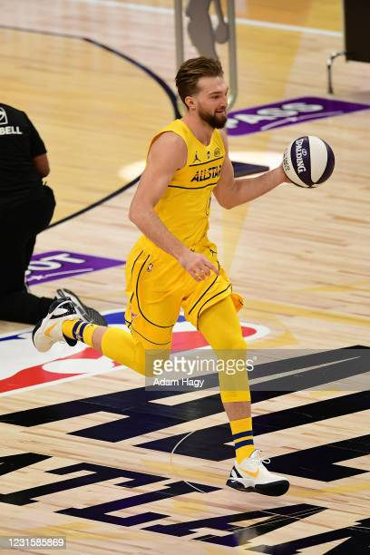 Domantas Sabonis of Team LeBron dribbles the ball during the Taco Bell Skills Challenge as part of 2021 NBA All Star Weekend on March 7, 2021 at...