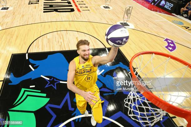 Domantas Sabonis of Team LeBron drives to the basket during the Taco Bell Skills Challenge as part of 2021 NBA All Star Weekend on March 7, 2021 at...