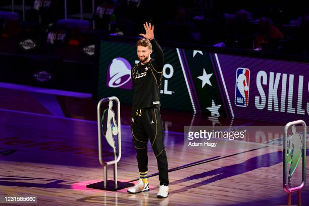 Domantas Sabonis of Team LeBron smiles before the Taco Bell Skills Challenge as part of 2021 NBA All Star Weekend on March 7, 2021 at State Farm...