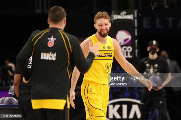 Domantas Sabonis of Team LeBron smiles during the Taco Bell Skills Challenge as part of 2021 NBA All Star Weekend on March 7, 2021 at State Farm...