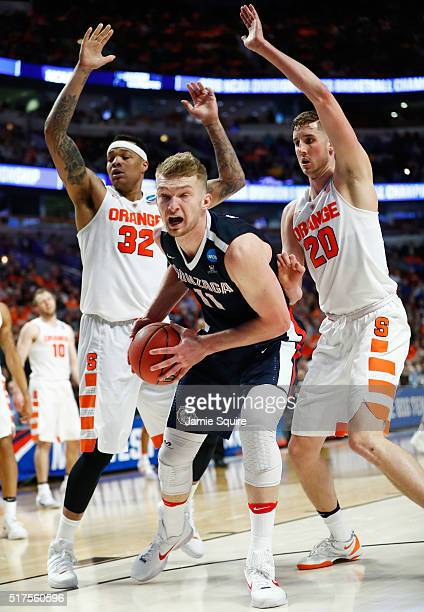Domantas Sabonis of the Gonzaga Bulldogs drives against DaJuan Coleman of the Syracuse Orange in the second half during the 2016 NCAA Men's...