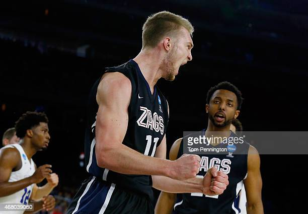 Domantas Sabonis of the Gonzaga Bulldogs reacts in the first half against the Duke Blue Devils during the South Regional Final of the 2015 NCAA Men's...