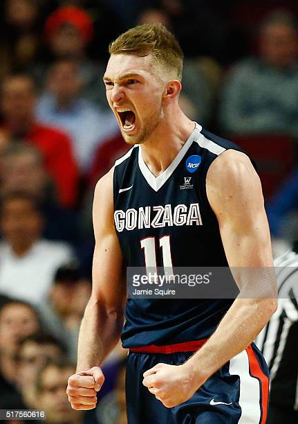 Domantas Sabonis of the Gonzaga Bulldogs reacts in the second half against the Syracuse Orange during the 2016 NCAA Men's Basketball Tournament...