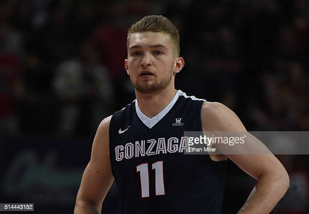 Domantas Sabonis of the Gonzaga Bulldogs stands on the court during the championship game of the West Coast Conference Basketball tournament against...