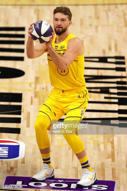 Domantas Sabonis of the Indiana Pacers competes in the 2021 NBA All-Star - Taco Bell Skills Challenge during All-Star Sunday Night at State Farm...