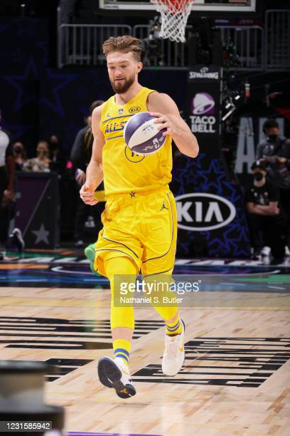 Domantas Sabonis of the Indiana Pacers dribbles during the Taco Bell Skills Challenge as part of 2021 NBA All Star Weekend on March 7, 2021 at State...