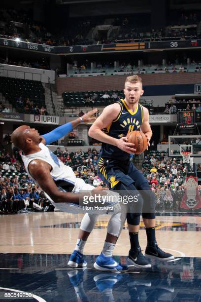 Domantas Sabonis of the Indiana Pacers drives to the basket against the Orlando Magic on November 27 2017 at Bankers Life Fieldhouse in Indianapolis...