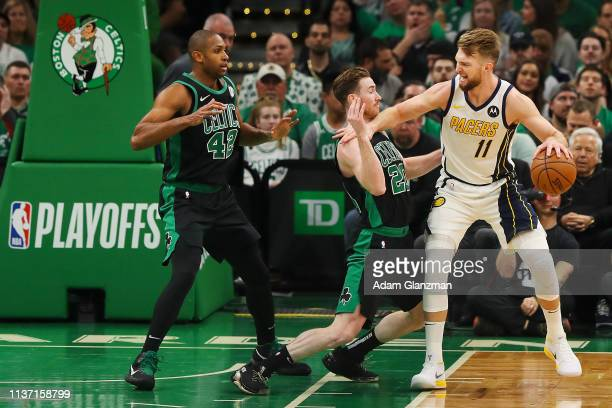 Domantas Sabonis of the Indiana Pacers drives to the basket while guarded by Gordon Hayward of the Boston Celtics during Game One of the first round...