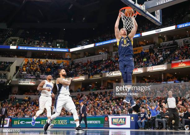 Domantas Sabonis of the Indiana Pacers dunks the ball against the Orlando Magic at Bankers Life Fieldhouse on November 27 2017 in Indianapolis...