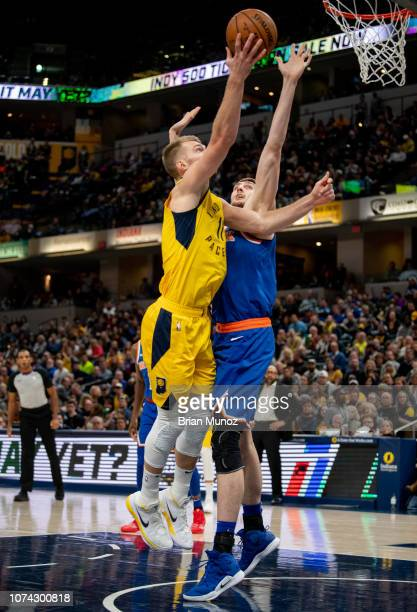 Domantas Sabonis of the Indiana Pacers goes for a basket during the second half of the game against the New York Knicks at Bankers Life Fieldhouse on...