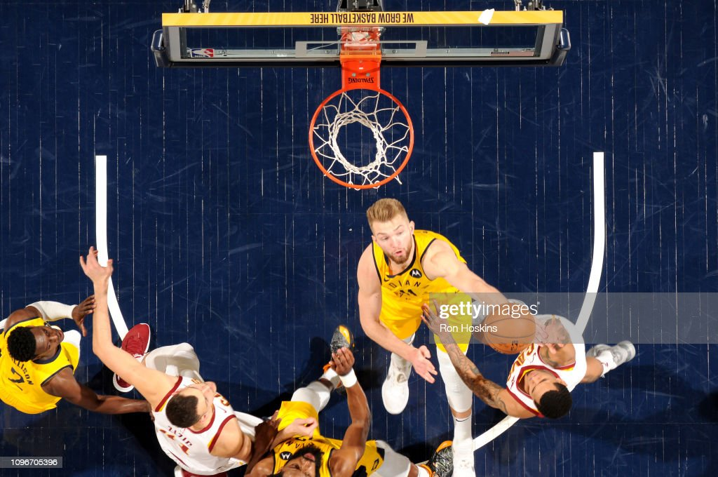 Domantas Sabonis of the Indiana Pacers handles the ball