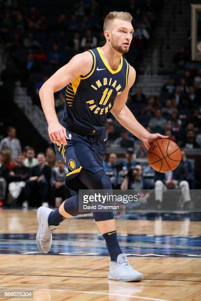 Domantas Sabonis of the Indiana Pacers handles the ball against the Minnesota Timberwolves on October 24 2017 at Target Center in Minneapolis...