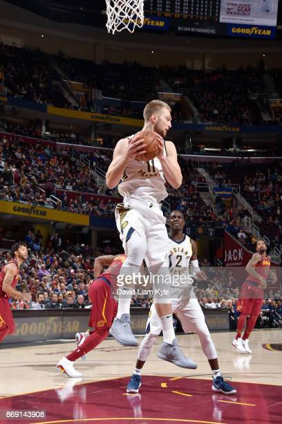 Domantas Sabonis of the Indiana Pacers handles the ball against the Cleveland Cavaliers on November 1 2017 at Quicken Loans Arena in Cleveland Ohio...