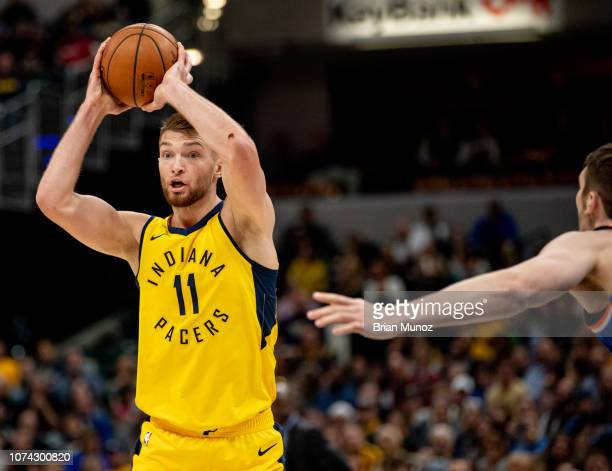 Domantas Sabonis of the Indiana Pacers looks to pass the ball during the second half of the game against the New York Knicks at Bankers Life...