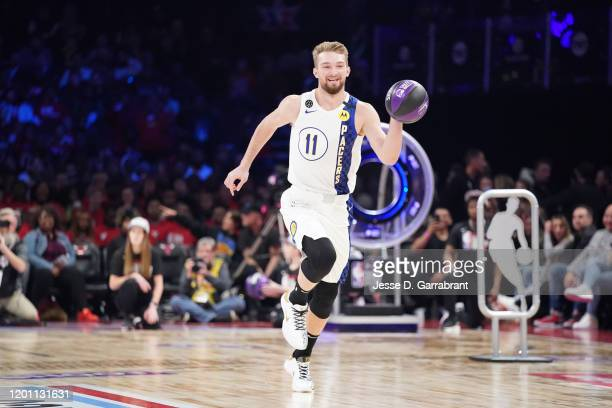 Domantas Sabonis of the Indiana Pacers participates in the 2020 NBA AllStar Taco Bell Skills Challenge on February 15 2020 at the United Center in...