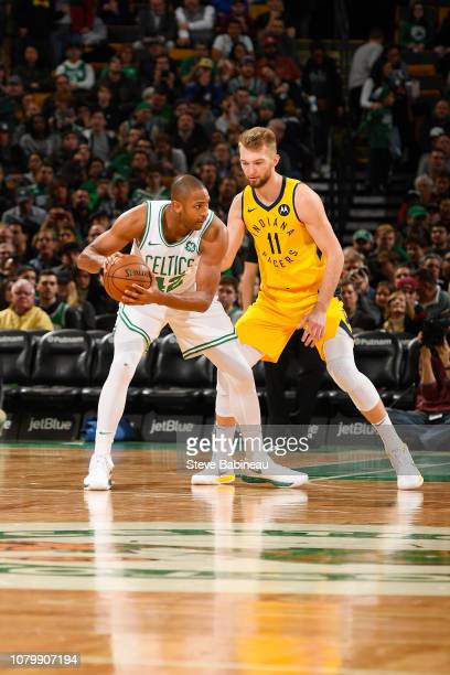Domantas Sabonis of the Indiana Pacers plays defense against during the game against Al Horford of the Boston Celtics on January 9 2019 at the TD...