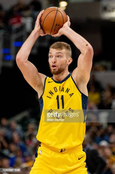 Domantas Sabonis of the Indiana Pacers prepares to pass the ball during a game against the New York Knicks at Bankers Life Fieldhouse on December 16...