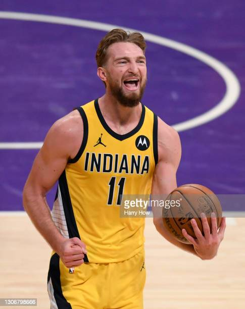 Domantas Sabonis of the Indiana Pacers reacts after he is fouled during a 105-100 Los Angeles Lakers win at Staples Center on March 12, 2021 in Los...