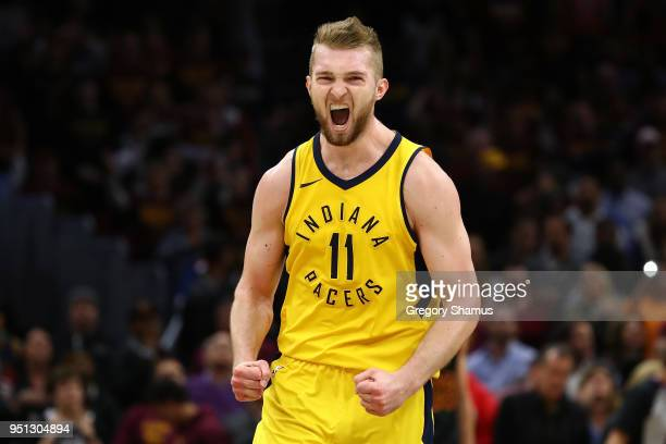 Domantas Sabonis of the Indiana Pacers reacts after hitting a basket to tie the game against the Cleveland Cavaliers late in Game Five of the Eastern...