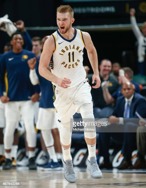 Domantas Sabonis of the Indiana Pacers reacts during the game against the San Antonio Spurs at Bankers Life Fieldhouse on October 29 2017 in...
