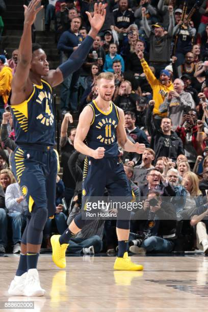 Domantas Sabonis of the Indiana Pacers reacts to a play during the game against the Cleveland Cavaliers on December 8 2017 at Bankers Life Fieldhouse...
