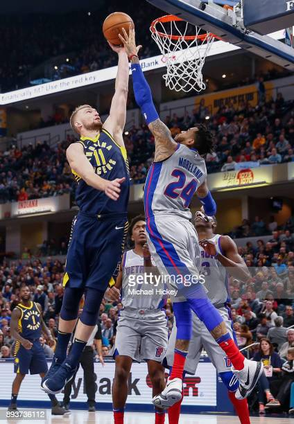 Domantas Sabonis of the Indiana Pacers shoots the ball against Eric Moreland of the Detroit Pistons at Bankers Life Fieldhouse on December 15, 2017...