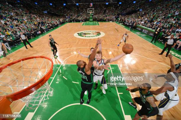 Domantas Sabonis of the Indiana Pacers shoots the ball against the Boston Celtics during Game One of Round One of the 2019 NBA Playoffs on April 14...