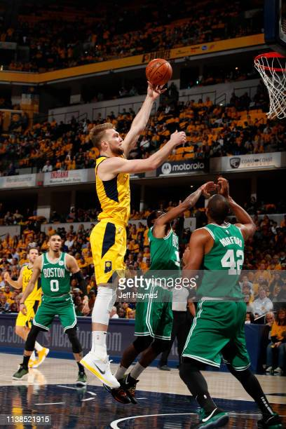Domantas Sabonis of the Indiana Pacers shoots the ball against the Boston Celtics during Game Four of Round One of the 2019 NBA Playoffs on April 21...