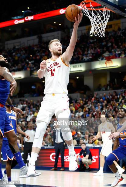 Domantas Sabonis of the Indiana Pacers shoots the ball against the New York Knicks at Bankers Life Fieldhouse on February 11 2018 in Indianapolis...